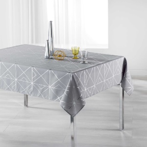 Quadris Nappe rectangle imprimé métallisé gris/argent 150x240 cm