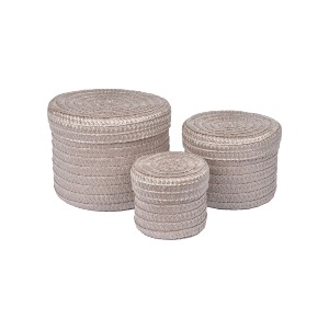BOITE RONDE TRESSEE AVEC COUVERCLE TAUPE 15 CM