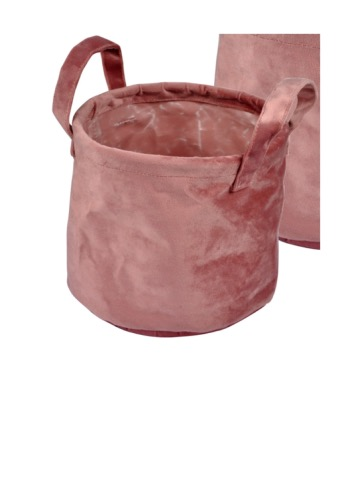 PANIERE VELOURS RONDE ROSE 19 CM