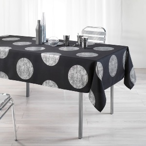 Palatine Nappe rectangle imprimé argent noir 150x240 cm