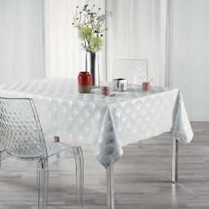 NAPPE IMPRIME METALLISE RECTANGLE GOLDY 150x240 CM BLANC/ARGENT