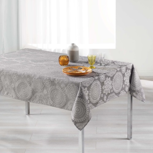 Rose des vents Nappe rectangle Jacquard anthracite 140x250cm
