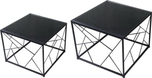 TABLE BASSE CARRÉE METAL NOIR 50x50cm