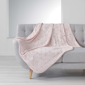 PLAID IMPRIME METALLISE QUADRIS ROSE / OR ROSE 125x150cm