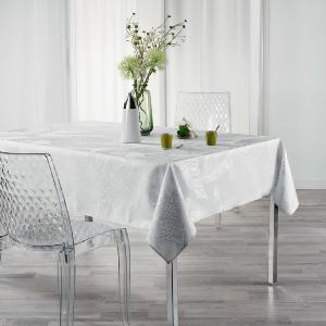 NAPPE IMPRIME METALLISE RECTANGLE 150x240 CM VEGGY BLANC/ARGENT