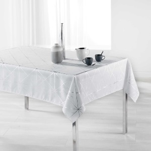Quadris Nappe rectangle imprimé métallisé blanc/argent 150x240 cm