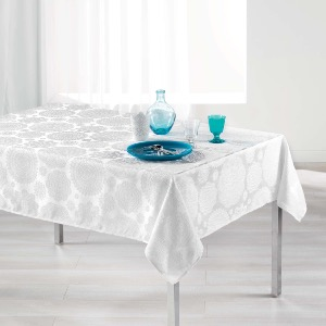 Rose des vents Nappe rectangle Jacquard blanc 140x250cm