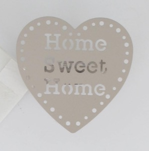 Embrasse pince métal home sweet home x2 taupe