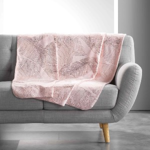 PLAID IMPRIME METALLISE VEGGY ROSE/OR ROSE 125 x 150 CM