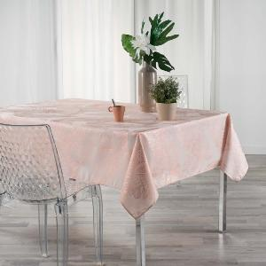 NAPPE IMPRIME METALLISE RECTANGLE 150x240 CM VEGGY ROSE / OR ROSE
