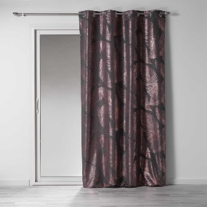 RIDEAU TAMISANT IMPRIME METALLISE VEGGY ANTHRACITE / OR ROSE 140 X 260 CM