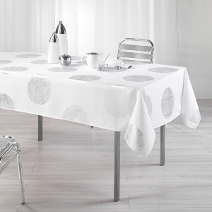 Palatine Nappe rectangle imprimé argent blanc 150x240 cm