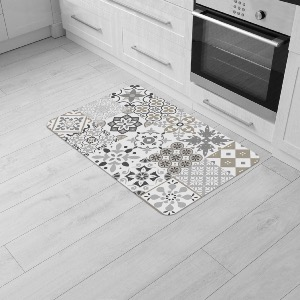 TAPIS MOUSSE RECTANGLE CARREAUX DE CIMENT NATUREL T1
