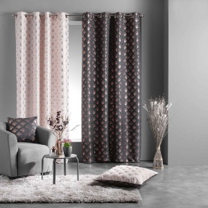 RIDEAU TAMISANT IMPRIME METALLISE GOLDY ANTHRACITE/OR ROSE 140 X 260 CM