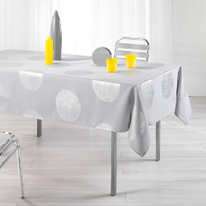 Palatine Nappe rectangle imprimé argent gris 150x240 cm