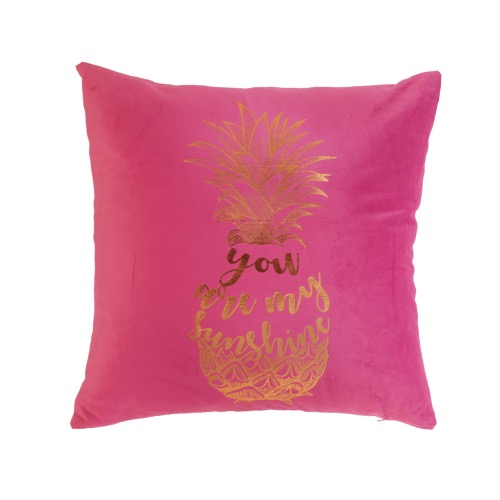Coussin « You are my sunshine ananas » velours imprimé or, rose fuchsia, déhoussable 45x45cm