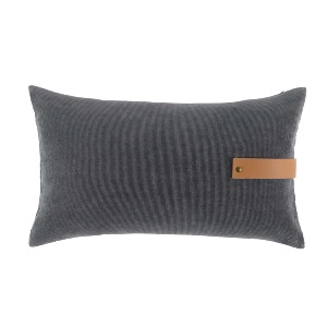 COUSSIN VELOURS + LANIERE EFFET CUIR MILLERAY ANTHRACITE 30 X 50 CM