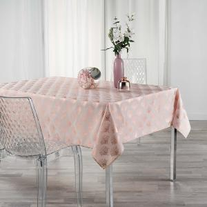 NAPPE IMPRIME METALLISE GOLDY RECTANGLE 140x250 CM ROSE/OR ROSE