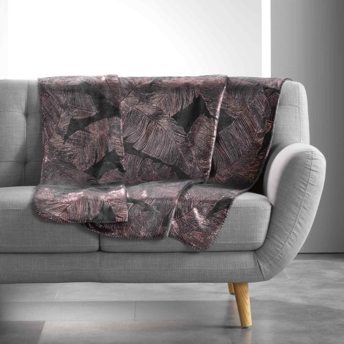 PLAID IMPRIME METALLISE VEGGY ANTHRACITE /OR ROSE 125 x 150 CM