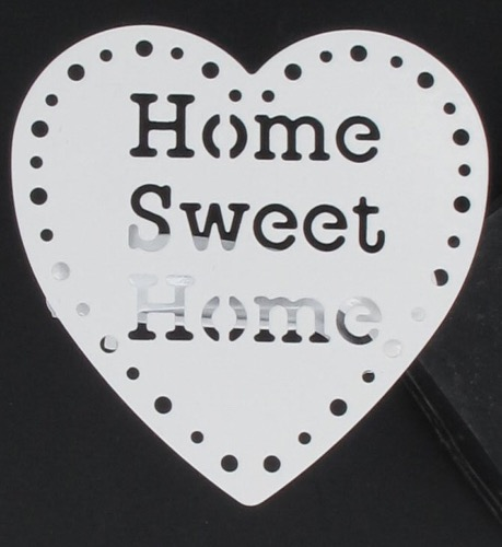 Embrasse pince métal home sweet home x2 blanc