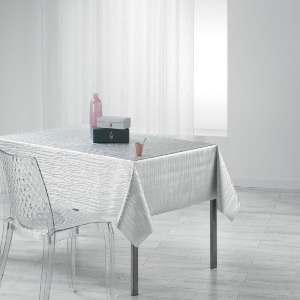 Wavy Nappe rectangle imprimé métallisé gris 140x240 cm
