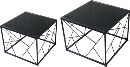 TABLE BASSE CARRÉE METAL NOIR 60x60cm