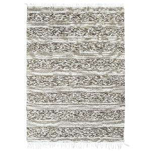TAPIS TERRA COTTON 120x170 BLANC SABLE BANDE RELIEF